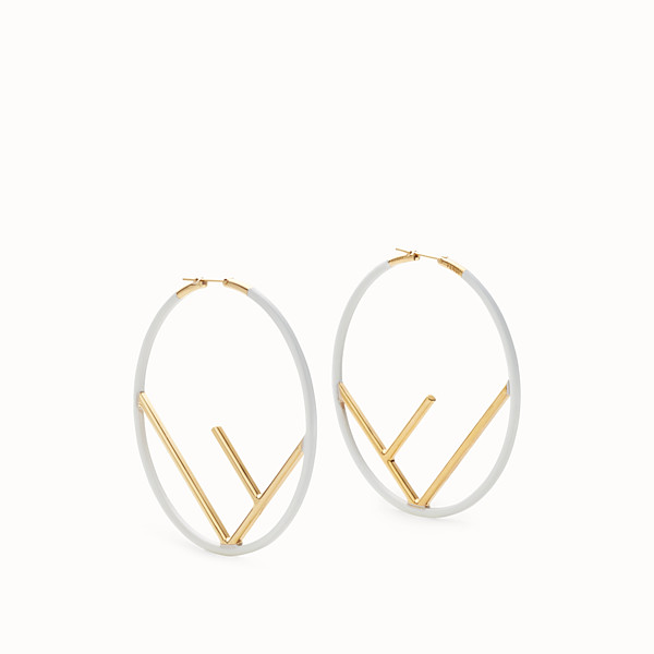 FENDI F IS FENDI EARRINGS - White and gold-colored earrings - view 1 small thumbnail