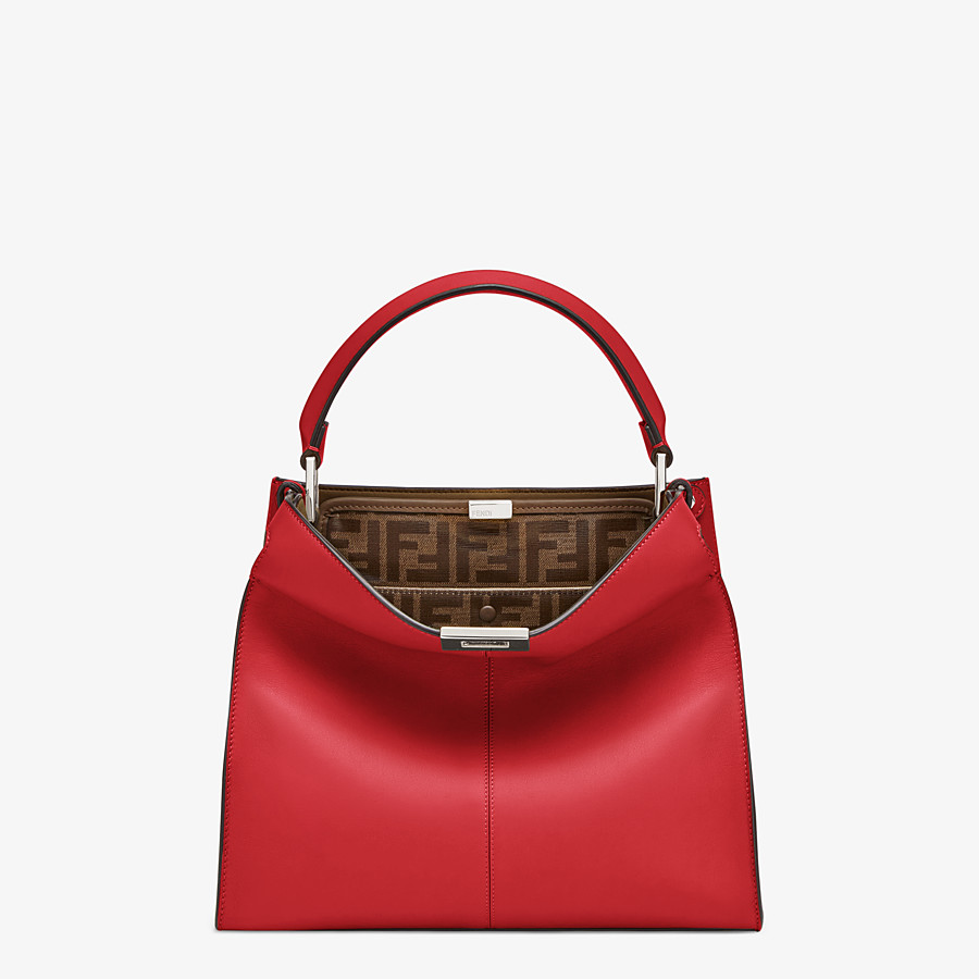 FENDI PEEKABOO X-LITE MEDIUM - Tasche aus Leder in Rot - view 3 detail