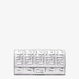 FENDI LANGES PORTEMONNAIE - Portemonnaie aus Leder in der Farbe Silber - view 1 thumbnail