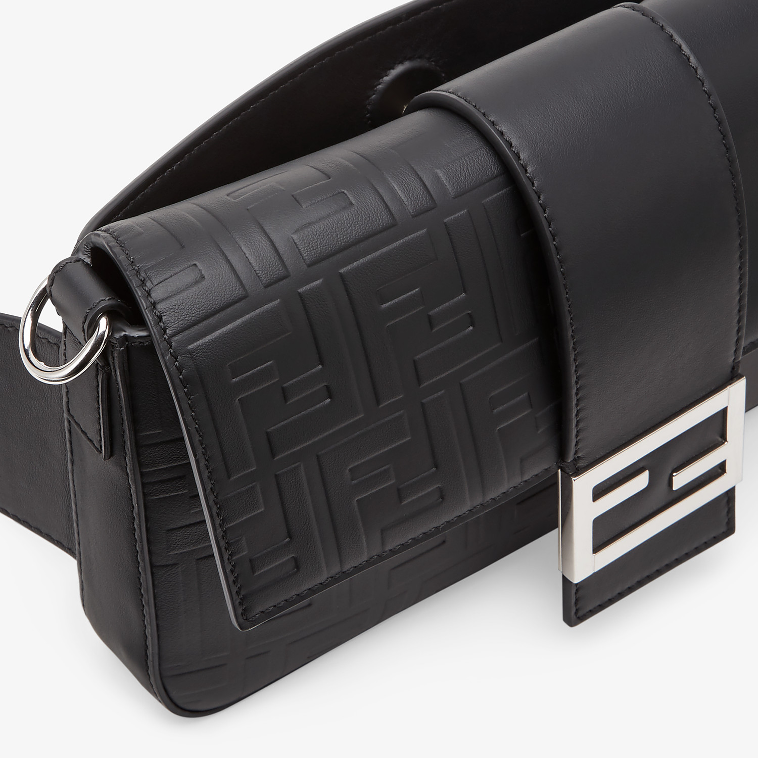 FENDI BAGUETTE - Black calfskin bag - view 6 detail