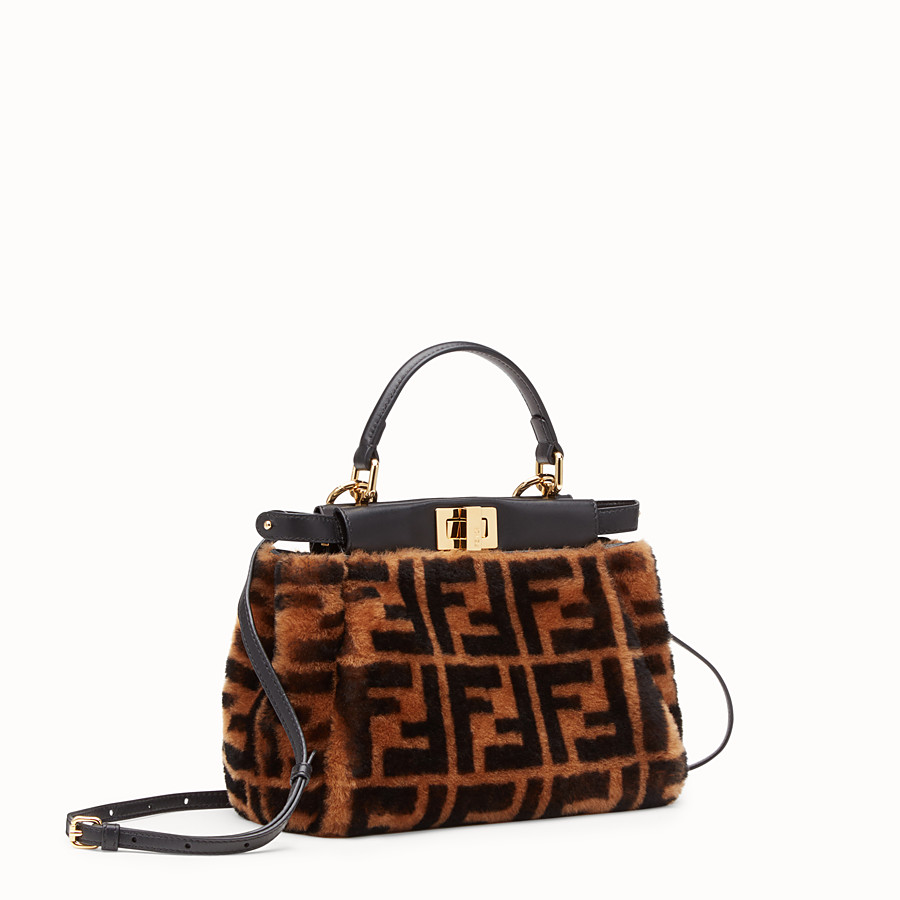 FENDI PEEKABOO MINI - Brown sheepskin bag - view 2 detail
