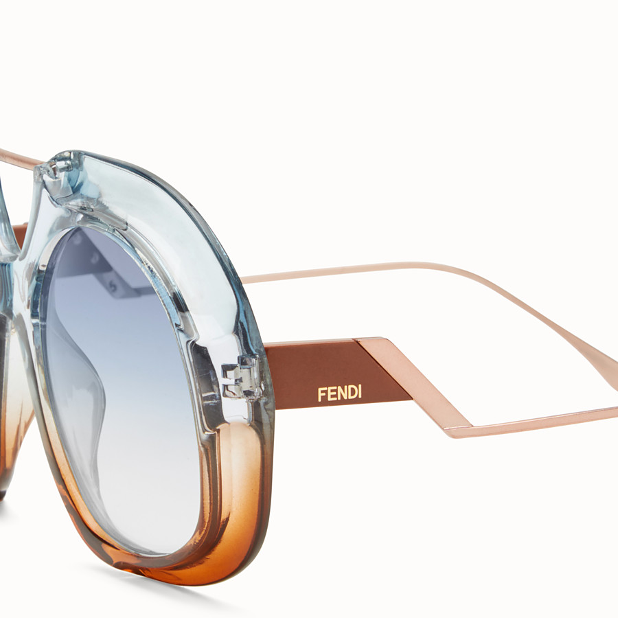 FENDI TROPICAL SHINE - Blue and brown sunglasses - view 3 detail