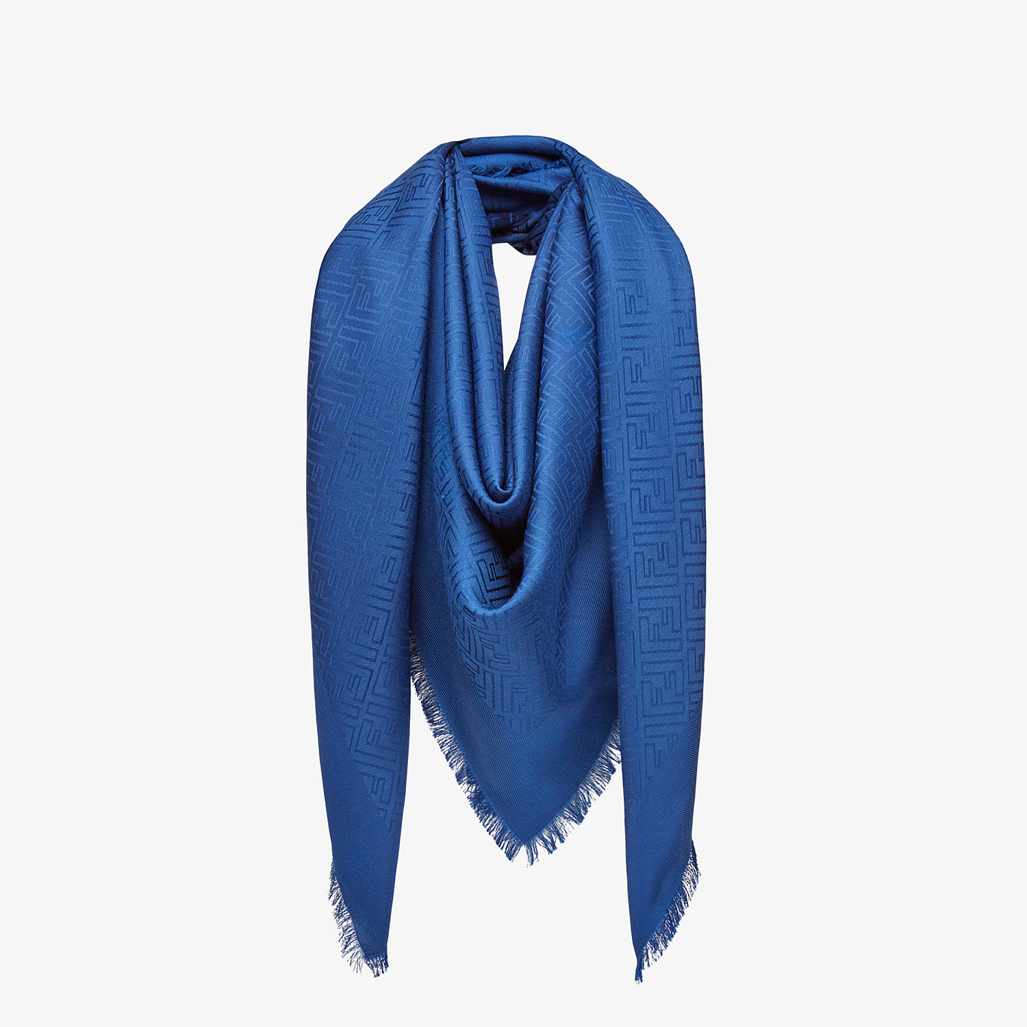 FENDI FF SHAWL - Shawl in blue wool and silk - view 2 detail