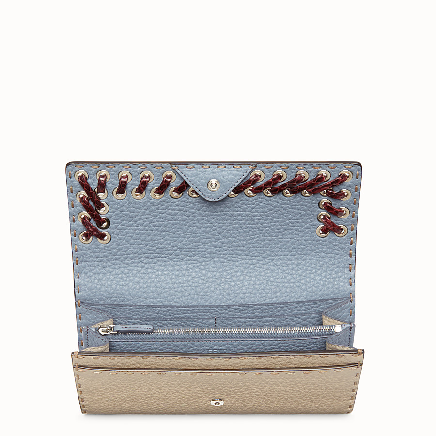 FENDI CONTINENTAL - Light blue and beige Selleria continental wallet - view 4 detail