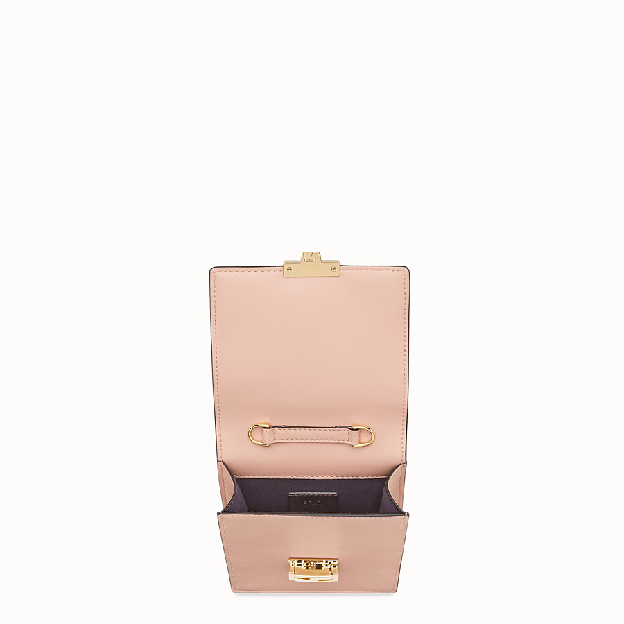 FENDI VERTICAL WALLET ON CHAIN KAN U - Beige leather mini-bag - view 4 detail
