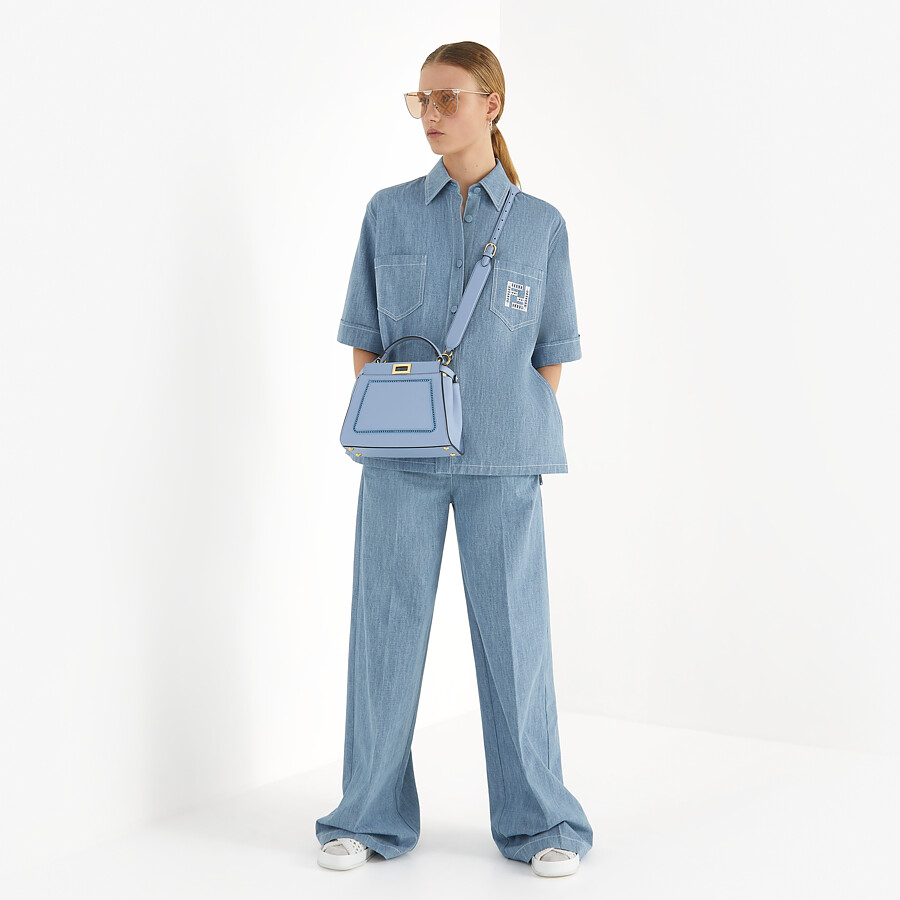FENDI PEEKABOO ICONIC MINI - Light blue leather bag with embroidery - view 2 detail