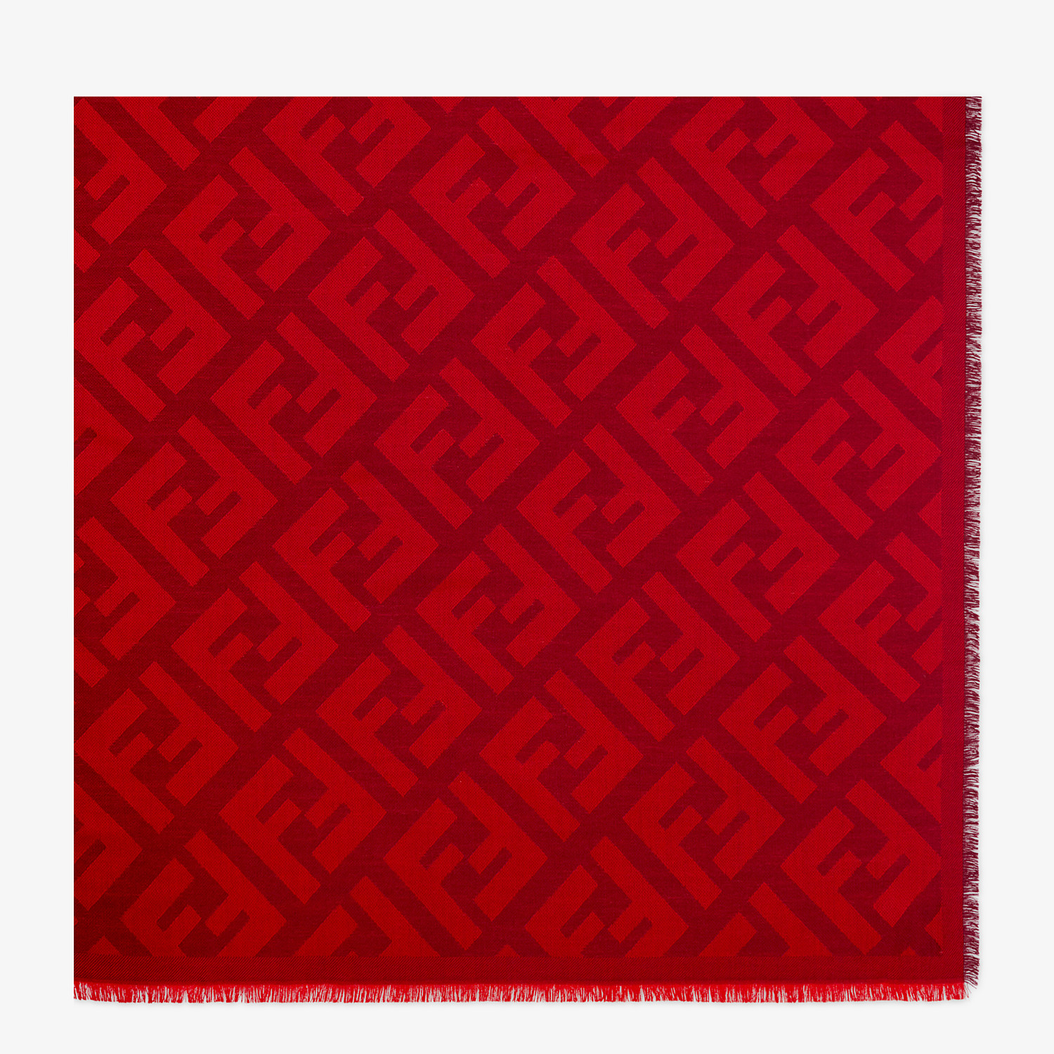 FENDI FF SHAWL - Red wool and cashmere shawl - view 1 detail
