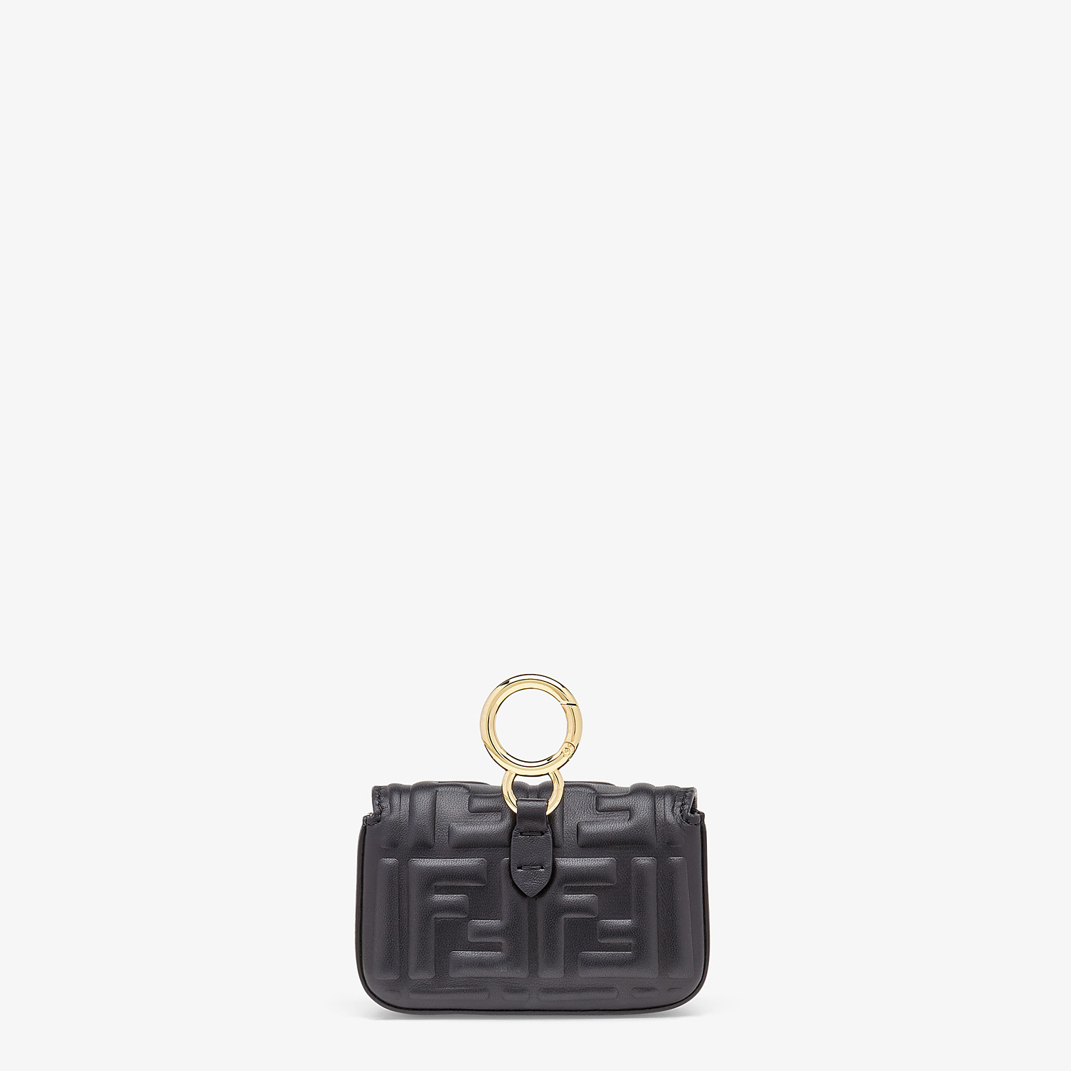 FENDI NANO BAGUETTE CHARM - Black nappa leather charm - view 4 detail
