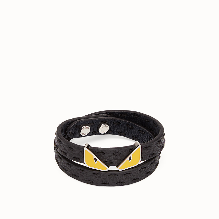 FENDI DOUBLE TOUR BRACELET - in black and blackboard blue Roman leather - view 1 detail