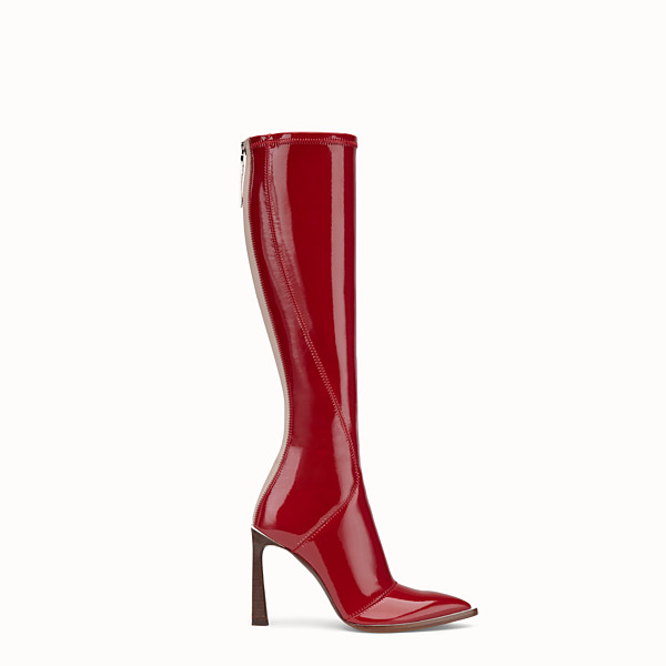 FENDI BOOTS - Glossy red neoprene boots - view 1 small thumbnail