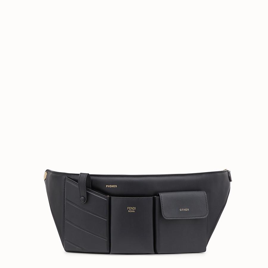 Black leather belt bag - POCKETS BELT BAG