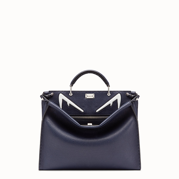 FENDI PEEKABOO ICONIC FIT - Blue leather bag - view 1 small thumbnail