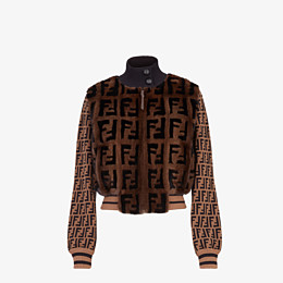 FENDI BOMBER - Inlaid mink and knitted fabric bomber - view 1 thumbnail