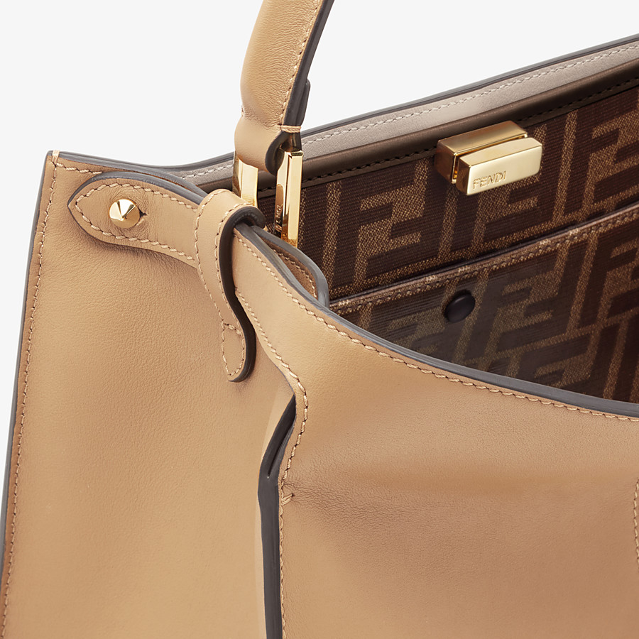 FENDI MEDIUM PEEKABOO X-LITE - Beige leather bag - view 7 detail