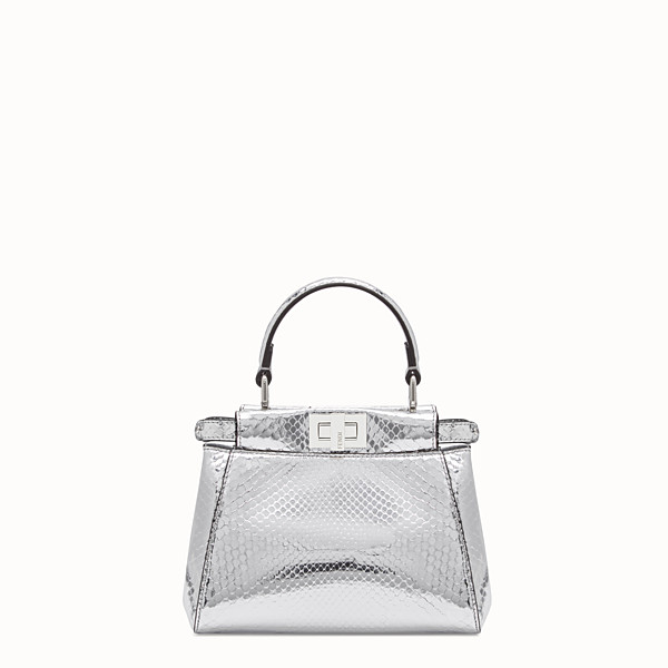 FENDI PEEKABOO ICONIC XS - Mini sac en python argenté - view 1 small thumbnail