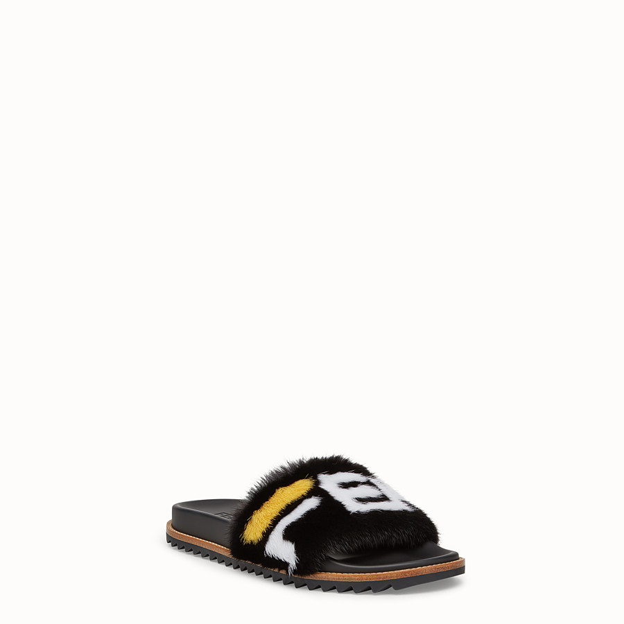FENDI SLIDES - Multicoloured mink Fussbet sandals. - view 2 detail