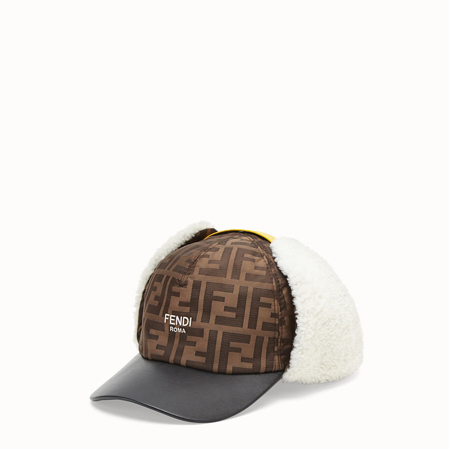FENDI HAT - Brown fabric and sheepskin baseball cap - view 1 detail