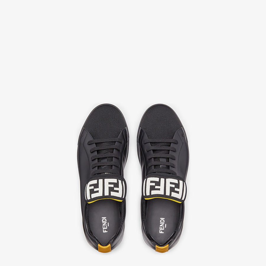 FENDI SNEAKERS - Black mesh and leather low-tops - view 4 detail