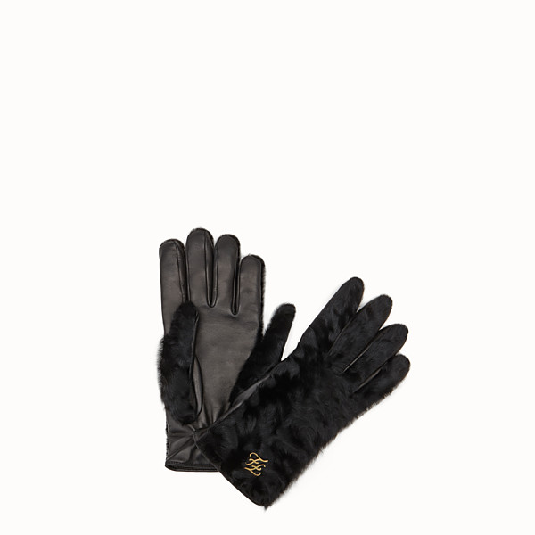 FENDI GLOVES - Black astrakhan gloves - view 1 small thumbnail