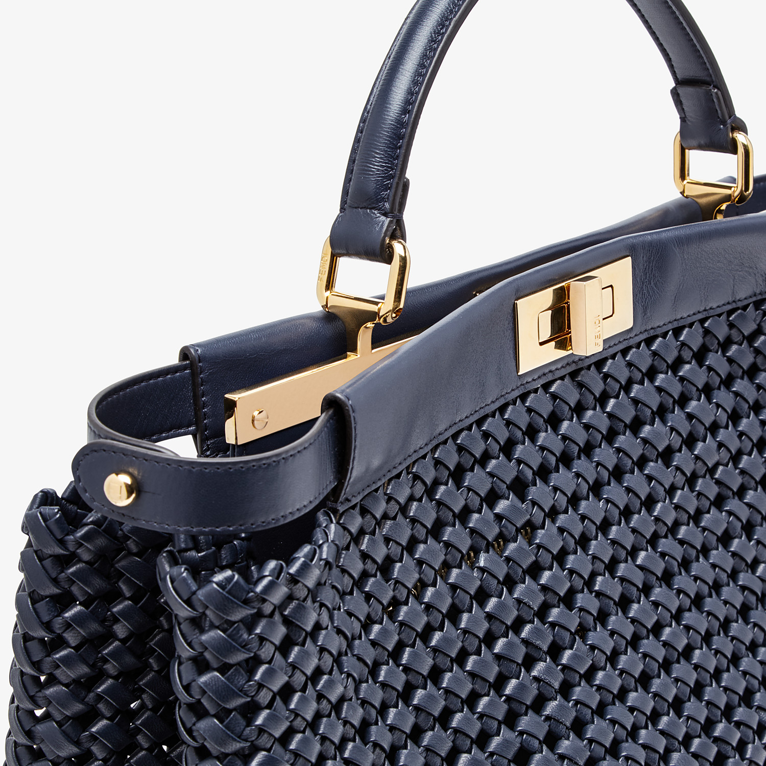 FENDI PEEKABOO ICONIC LARGE - Blue leather interlace bag - view 5 detail