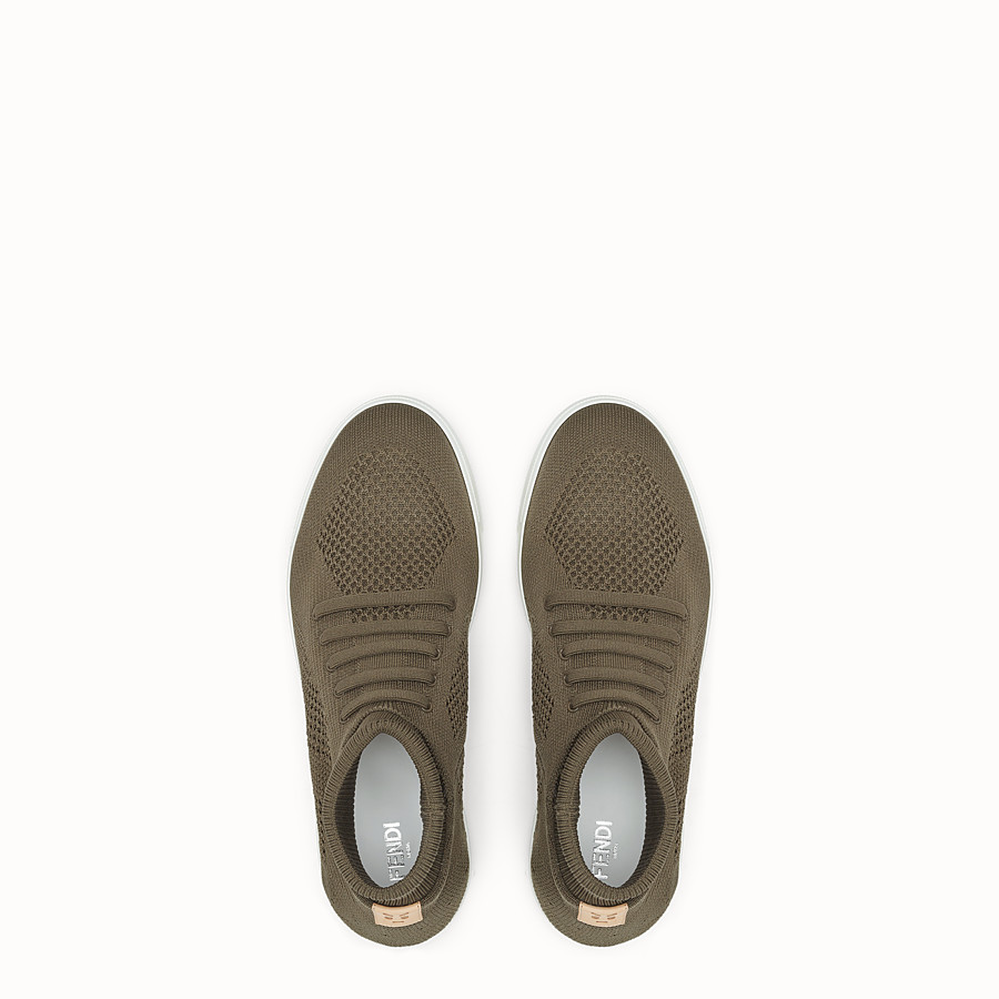 FENDI SNEAKER - Knitted mud-brown slip-ons - view 4 detail