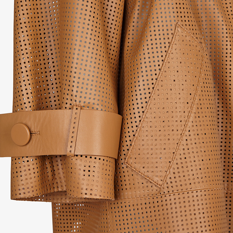 FENDI OVERCOAT - Brown leather trench coat - view 3 detail