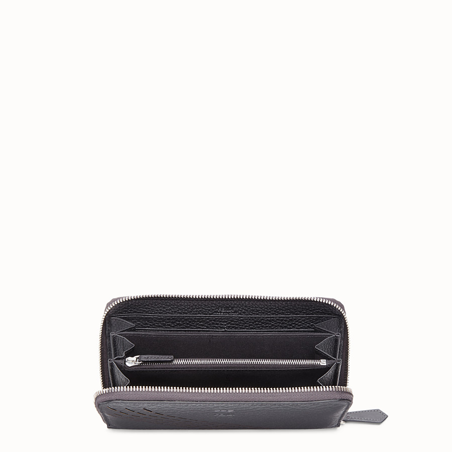 FENDI ZIP-AROUND - Grey calf leather wallet - view 3 detail