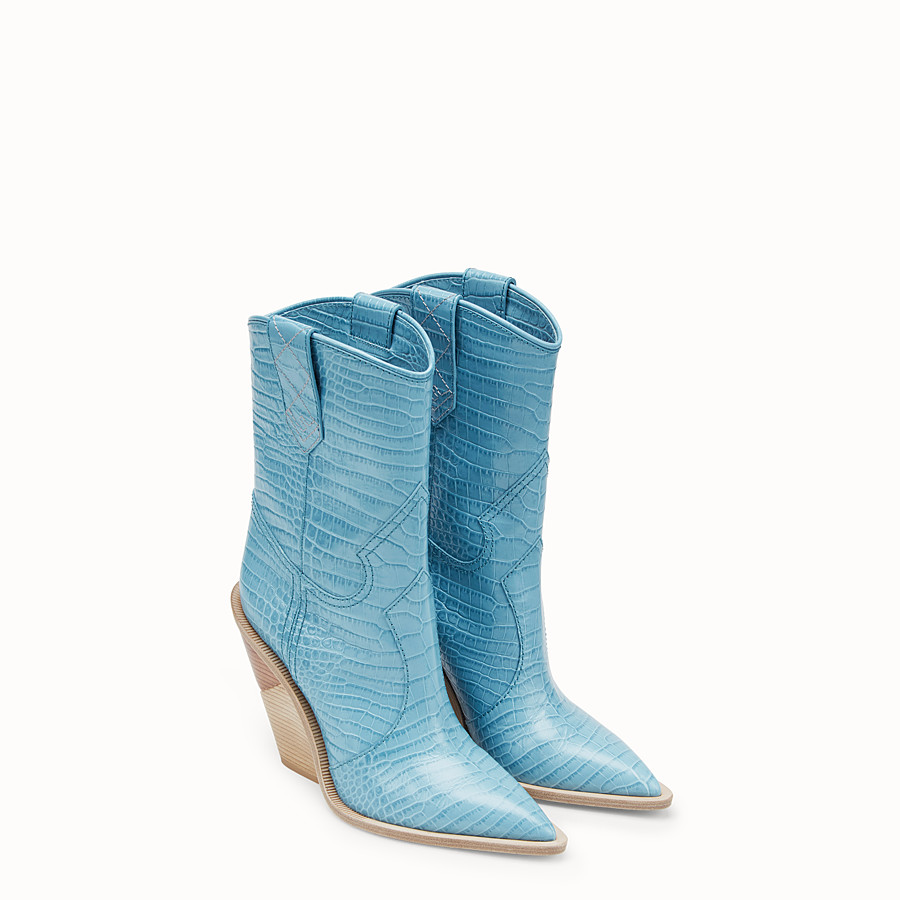 FENDI BOOTS - Pale blue leather ankle boots - view 4 detail