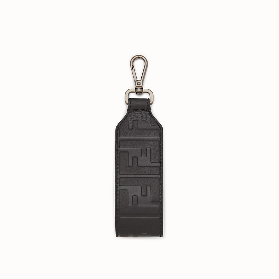 FENDI KEYRING - Black leather key ring - view 1 detail
