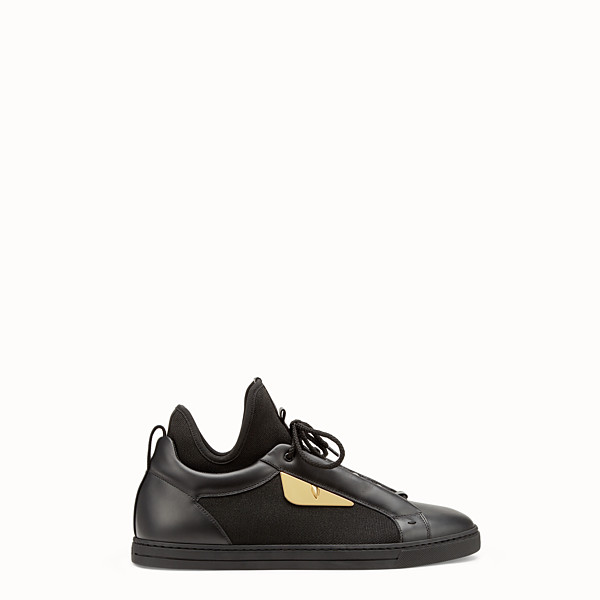 FENDI SNEAKERS - Black leather and tech fabric high-tops - view 1 small thumbnail