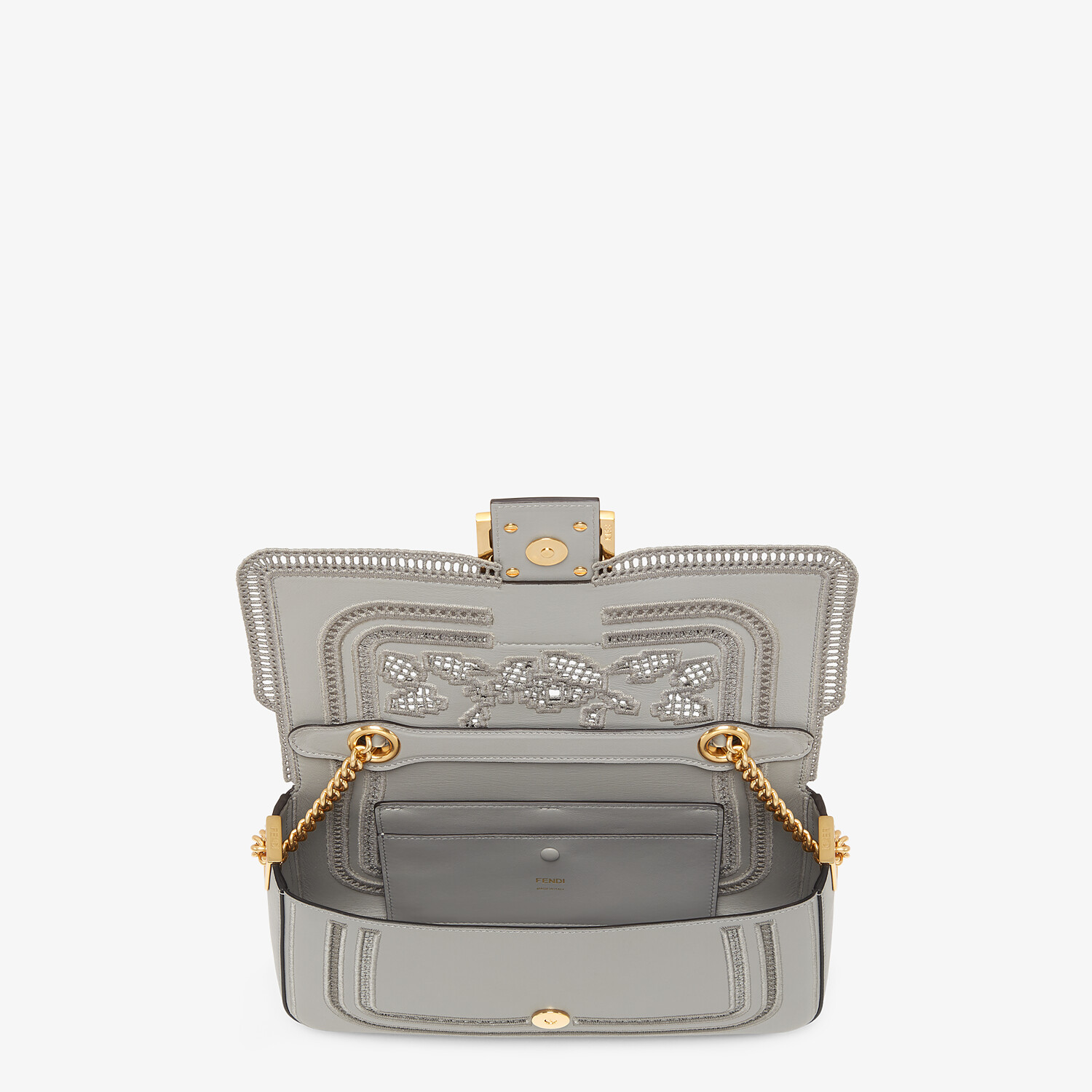 FENDI BAGUETTE CHAIN - Embroidered gray leather bag - view 4 detail