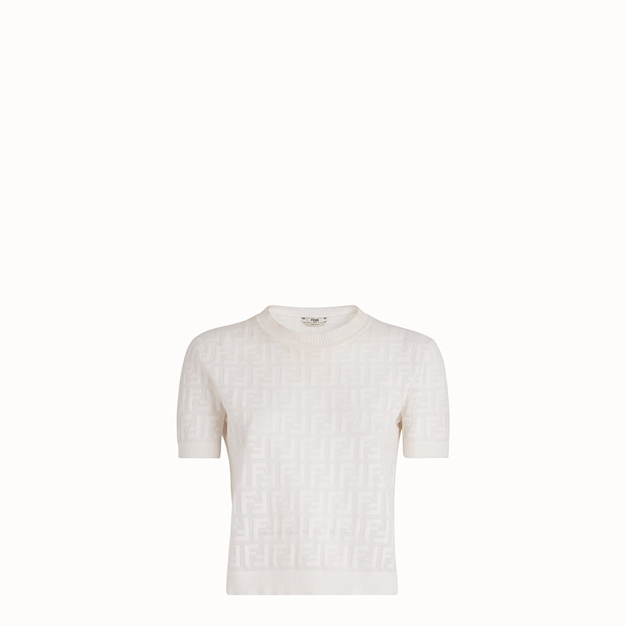 FENDI JUMPER - White cotton jumper - view 1 detail