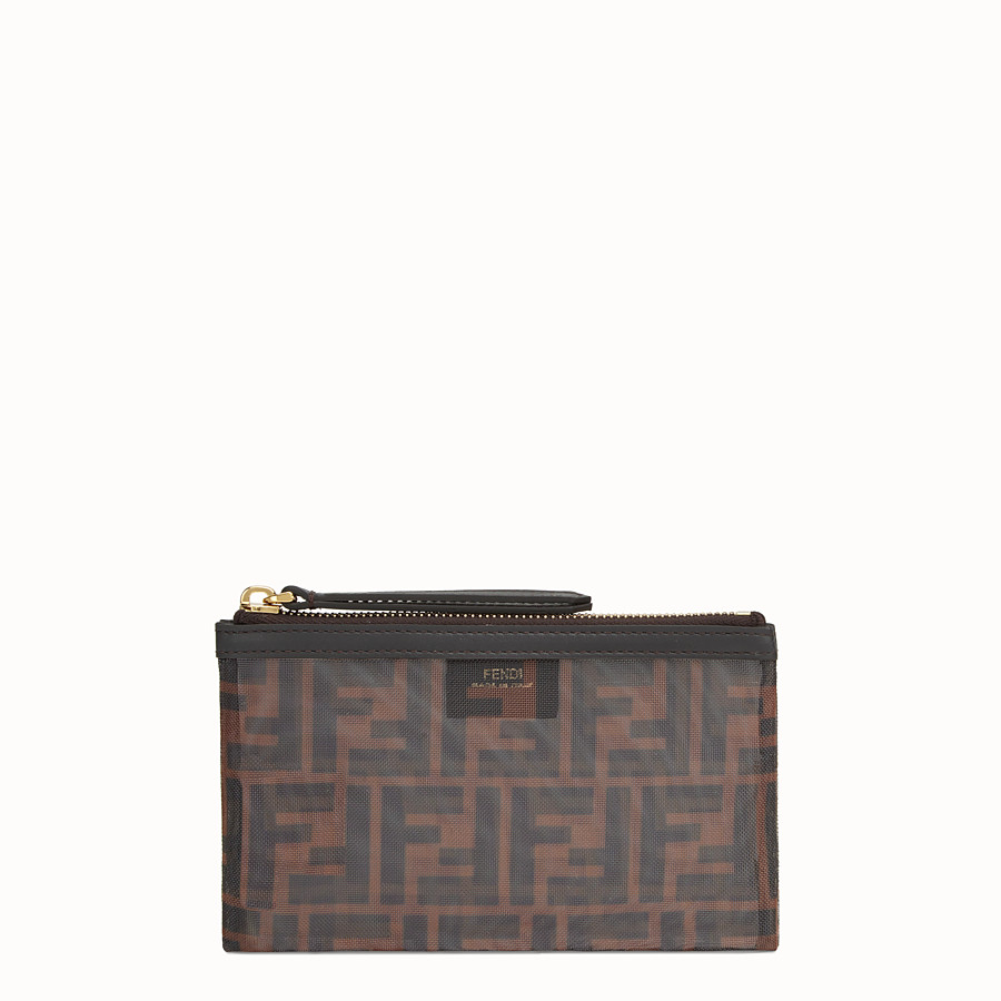 FENDI SMALL FLAT POUCH - Tech mesh brown bag - view 1 detail