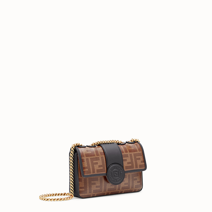 FENDI MINI DOUBLE F - Brown canvas bag - view 2 detail