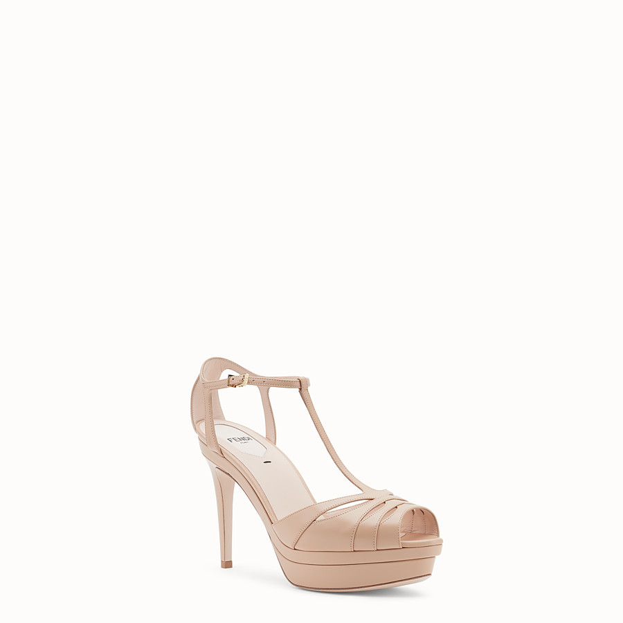 FENDI SANDALS - Pink leather high sandals - view 2 detail