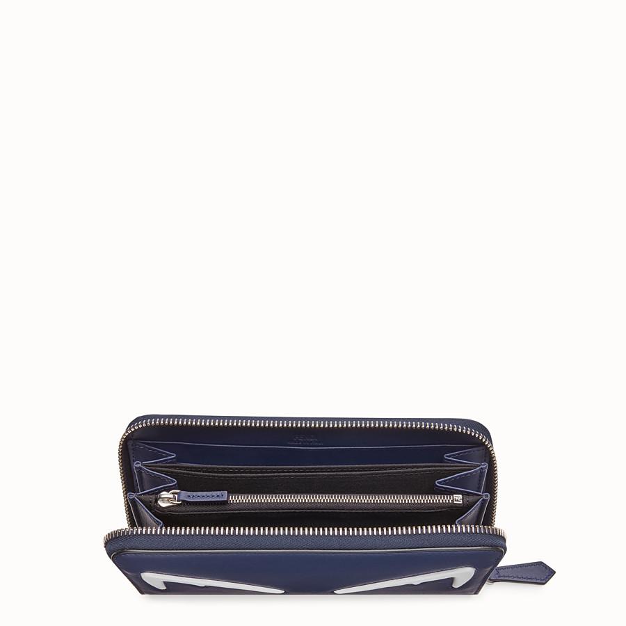FENDI ZIP-AROUND - Blue leather wallet - view 3 detail
