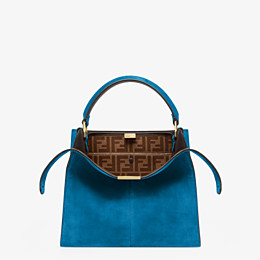 FENDI PEEKABOO X-LITE MEDIUM - Tasche aus Veloursleder in Blau - view 1 thumbnail