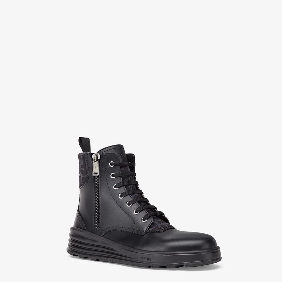 FENDI ANKLE BOOT - Black leather biker boots - view 2 detail