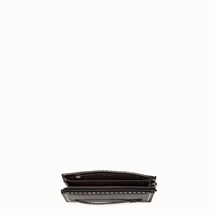 FENDI CLUTCH - in black Roman leather with metallic stitching - view 4 detail