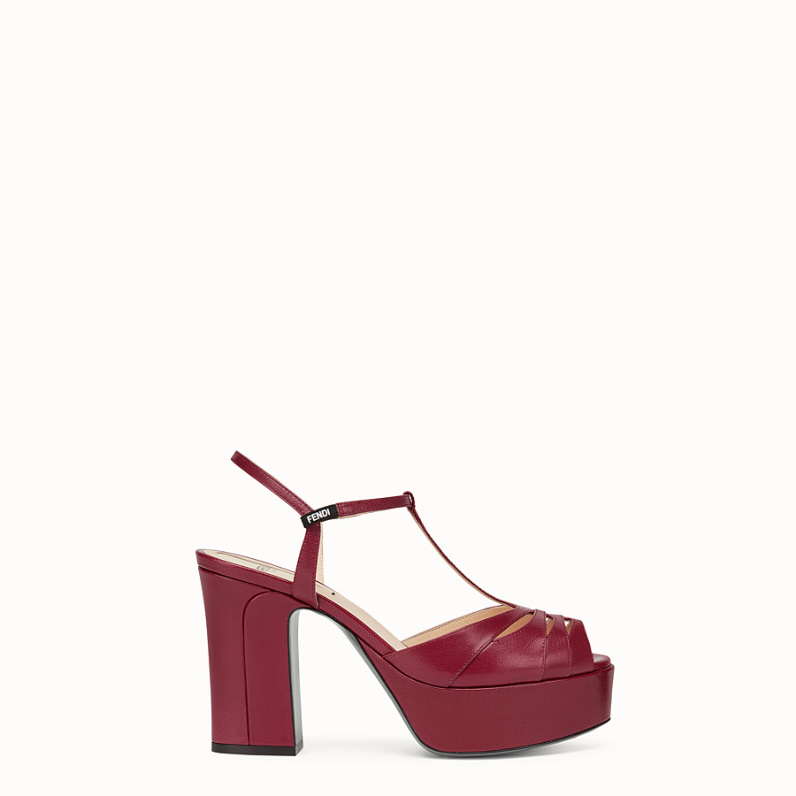FENDI SANDALS - Red leather sandals - view 1 detail