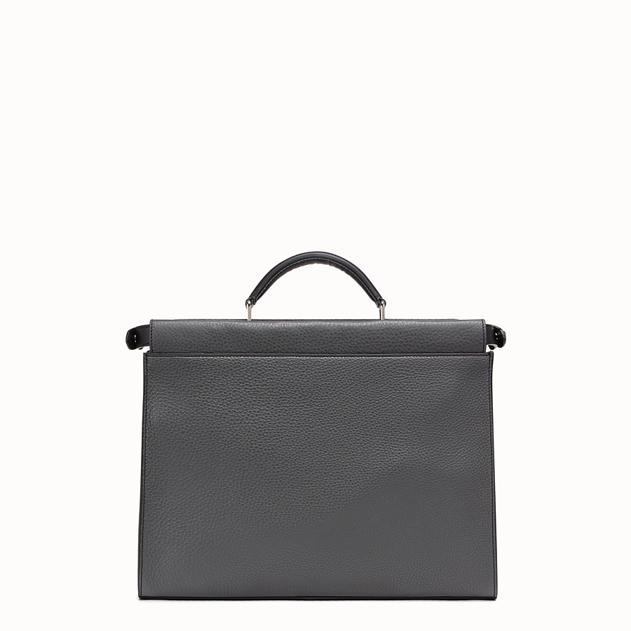 FENDI PEEKABOO FIT - Grey leather bag - view 3 detail