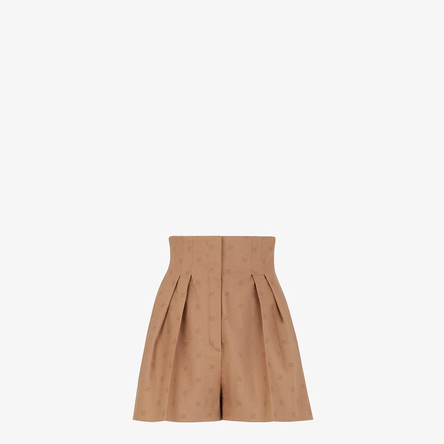 FENDI PANTS - Camel-colored wool shorts - view 1 detail