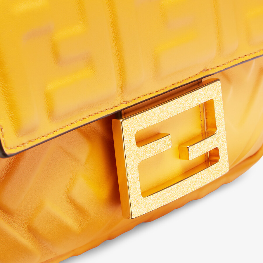 FENDI BAGUETTE - Orange nappa leather bag featuring the FF motif - view 6 detail