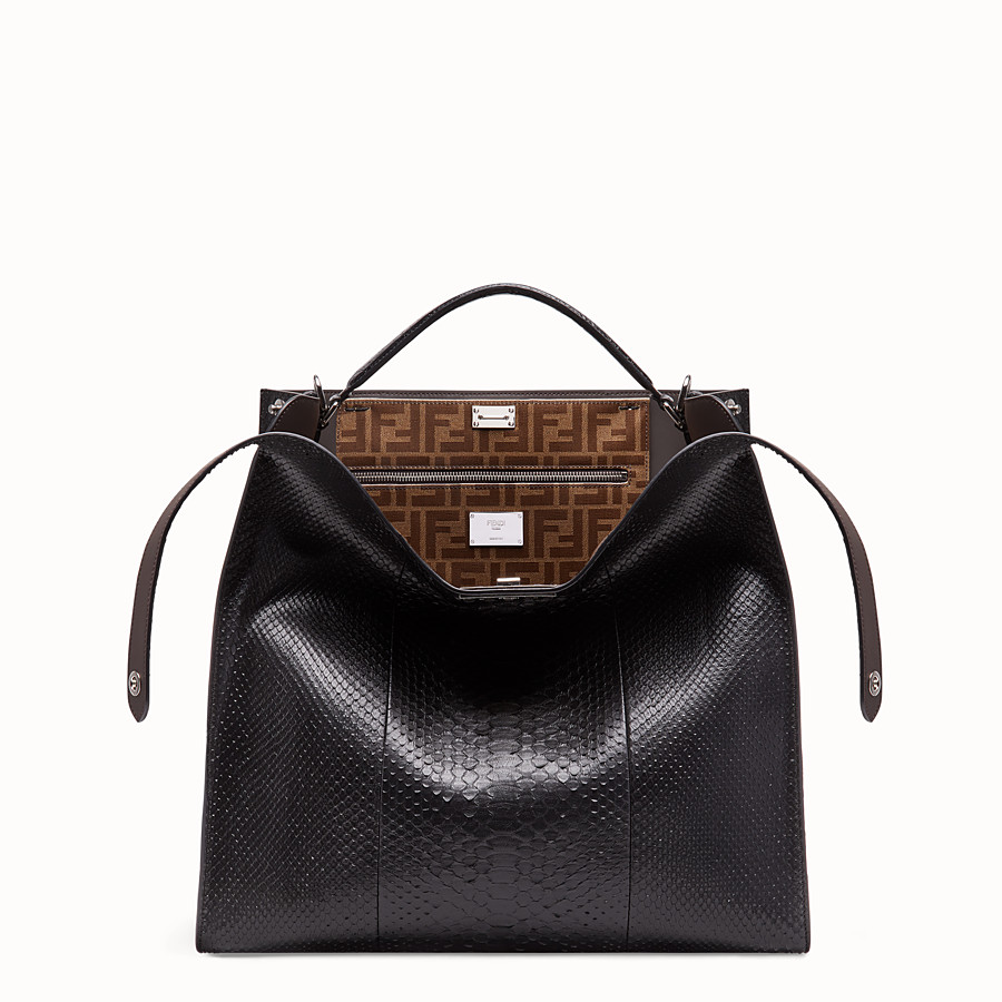 FENDI PEEKABOO X-LITE MEDIUM - Black python leather bag - view 1 detail
