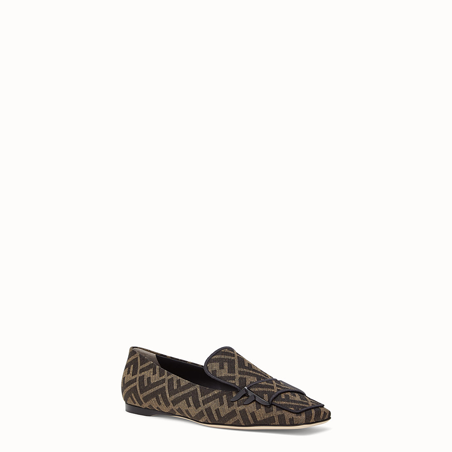 FENDI LOAFERS - Multicoloured fabric flat loafers - view 2 detail