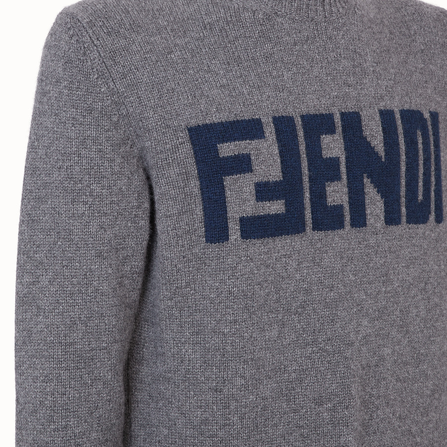 FENDI PULLOVER  - Grey cashmere jumper - view 3 detail