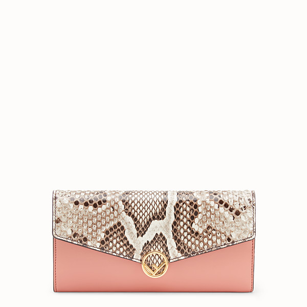 FENDI CONTINENTAL - Pink leather wallet with exotic details - view 1 small thumbnail