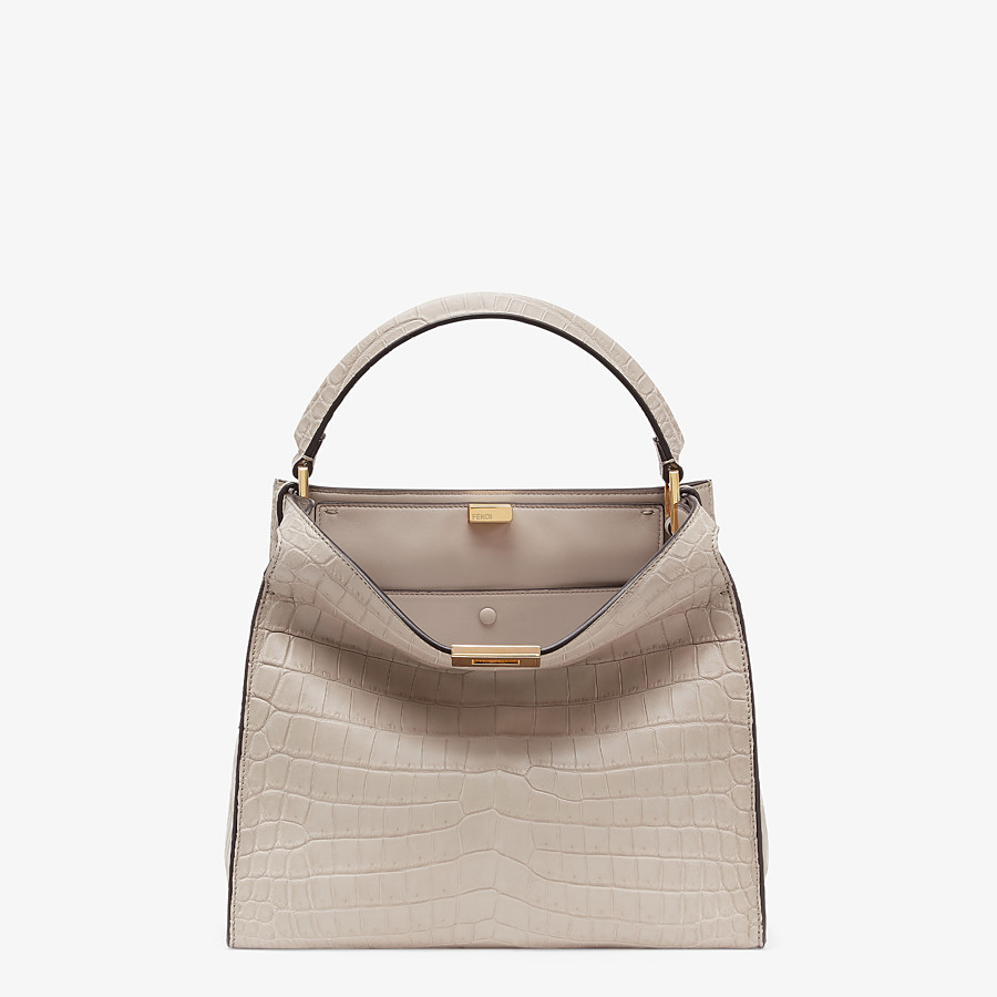 FENDI PEEKABOO X-LITE MEDIUM - Gray crocodile bag - view 2 detail
