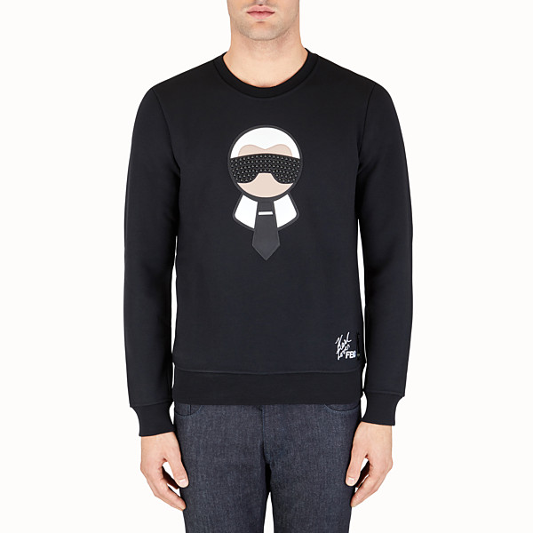 FENDI SWEATSHIRT - in printed black jersey with studs - view 1 small thumbnail