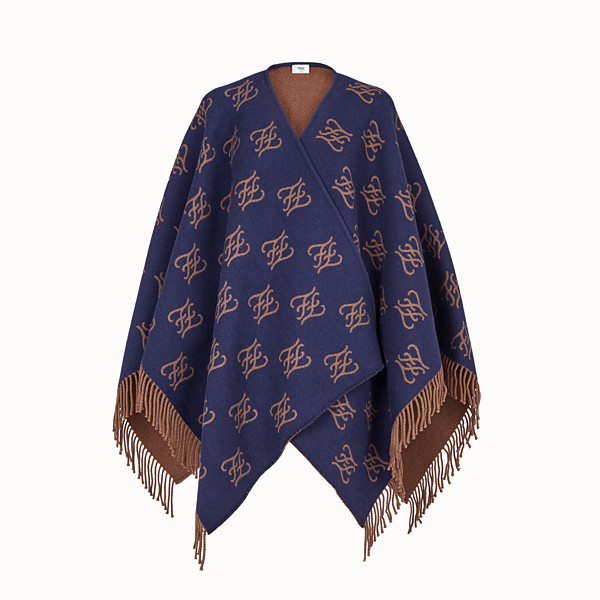 FENDI KARLIGRAPHY PONCHO - Blue wool poncho - view 1 small thumbnail